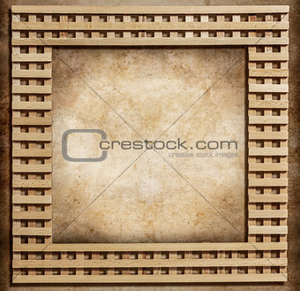 wooden frame on grunge background