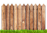 wooden fence and grass isolated on white