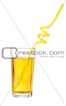 Apple juice with drink straw in glass isolated on white with cli