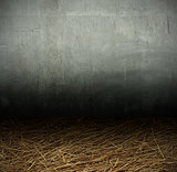 Wall cement and straw background