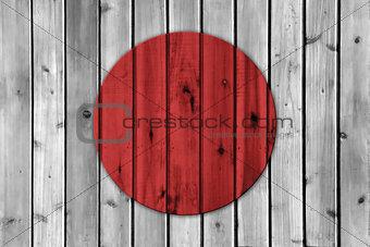 Wood board Japan flag