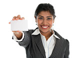 Indian businesswoman shows a blank business card