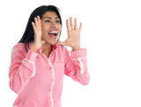 Indian woman shouting.