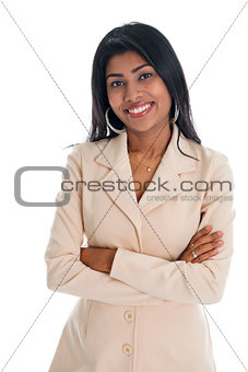 Attractive Indian businesswoman hands folded