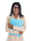 Indian business woman holding office file folder.