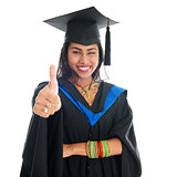 Indian graduate student giving thumb up hand sign