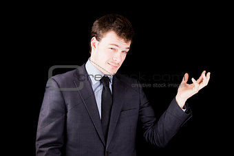 Businessman presenting an object not yet there