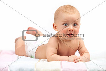 Cute baby boy over white