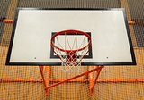 Basketball hoop cage in public gym
