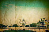 retro style Notre Dame Cathedral in Paris