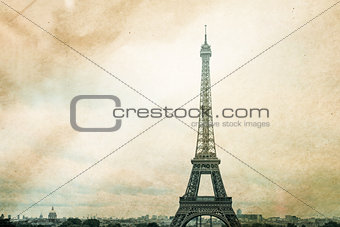 retro style Eiffel Tower
