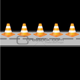 Background with traffic cones on road