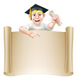 Graduate and scroll banner sign