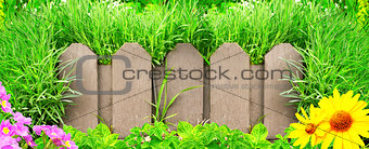 Wooden fence, flowers and green grass