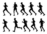 high quality marathon runners silhouettes