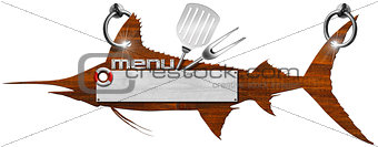 Marlin Menu Wooden Signboard