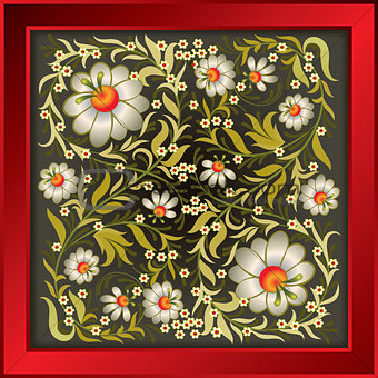 grunge floral ornament on gray