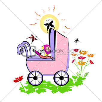 Baby in pram. Summer vector