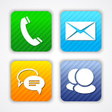 Communication app icons and web elements