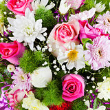 flower bouquet from chrysanths and roses