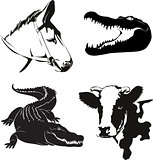 various farm animals silhouettes