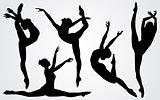 Black silhouettes of a ballerina