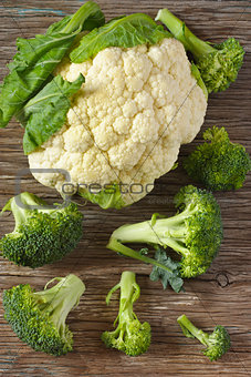 Cauliflower and broccoli.