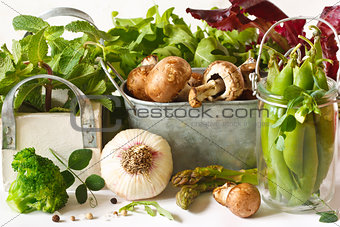 Vegetables and herbs.