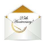 Happy 25th Anniversary gold mail letter