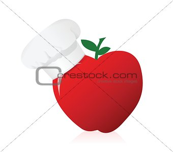 apple wearing a chefs hat.