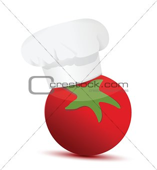 tomato wearing a chefs hat.