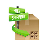 shipping cardboard and road sign illustration