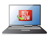 buy now sign on a laptop. illustration