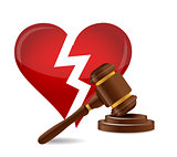 Gavel divorce concept illustration design