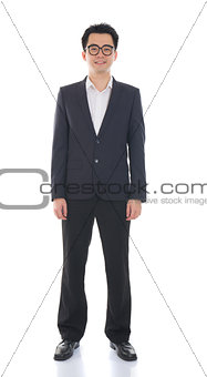 asian business male full length with coat on isolated white back