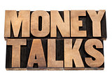 money talks in wood type