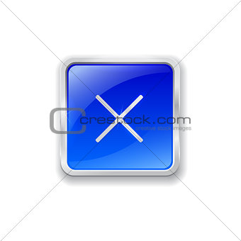 Cross icon on blue button