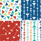 Vector arrows and triangles seamless pattern background