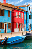Blue And Red Buildings in Burano