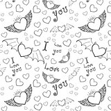 love you seamless black on white