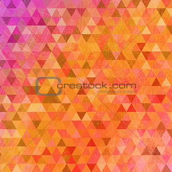 Grunge bright pink orange triangles abstract background