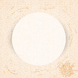 Round paper frame on curly pastel pattern - stained