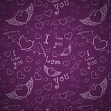 love you seamless white on purple