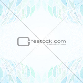 Abstract blue floral card horizontal curly