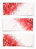 Set of 3 banners with red circles