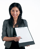 Business woman with writing pad
