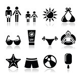 Summer beach holidays vector icons set