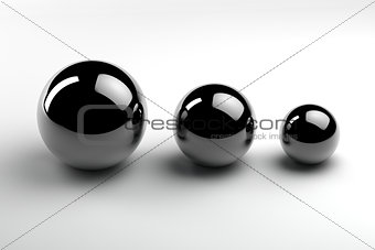 three metal spheres