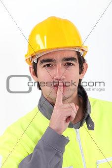 Laborer asking for silence