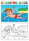 Coloring book swimming theme 1